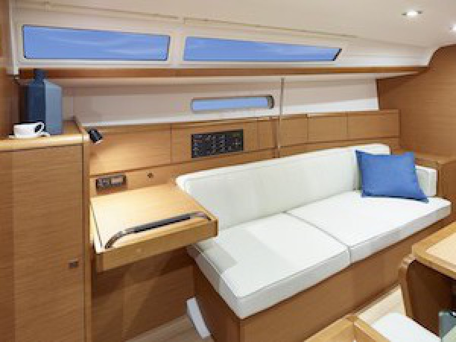 Saloon seat interior of RYA training course sailing vessel