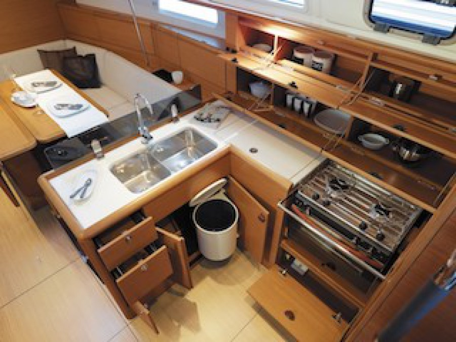 Galley of RYA sailing course training vessel